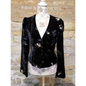 Armani Collezioni black and tan velour blouse